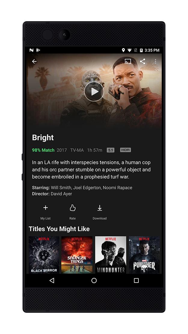 Razer Phone Netflix Bright