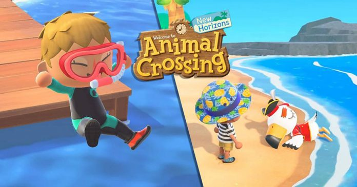 actualización nadar bucear animal crossing new horizons